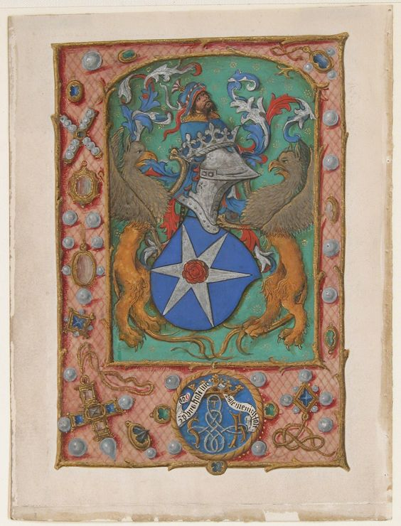 Manuscript Leaf with Coat of Arms, from a Book of Hours, ca. 1500, South Netherlandish. Made in Ghent-Bruges, Netherlands. Tempera, ink, and shell gold on parchment, 6 5/16 x 4 11/16 in. (16 x 11.9 cm) Other (Illumination): 5 7/16 x 3 11/16 in. (13.8 x 9.4 cm) Other (mat size): 12 × 10 in. (30.5 × 25.4 cm). The Friedsam Collection, Bequest of Michael Friedsam, 1931. 32.100.475a © The Metropolitan Museum of Art.