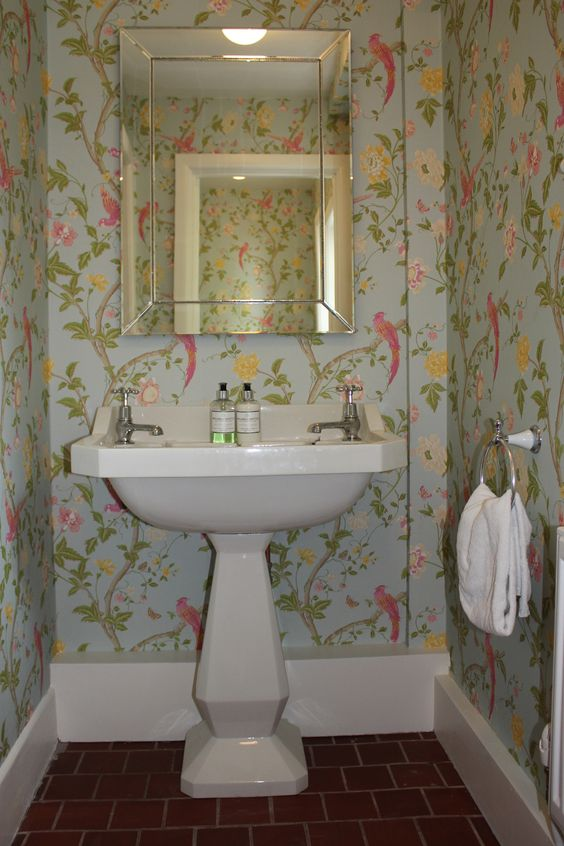 Cloakroom with floral wallpaper bathroom stuff for Floral bathroom wallpaper