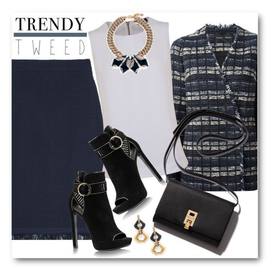 """""""Trendy Tweed for the Office"""" by brendariley-1 ❤ liked on Polyvore featuring J.Crew, Proenza Schouler, Armani Jeans, Lulu Frost, women's clothing, women, female, woman, misses and juniors"""