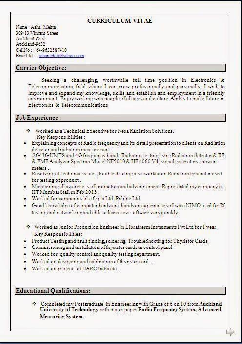 Telecommunication Engineer Sample Resume Delectable Example Resume Sample Template Example Ofexcellent Curriculum Vitae .