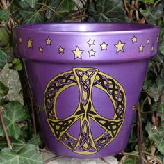 Pot de fleur peint à la main peace and love dragons triskel sorcière pentacle wicca fée celte magie