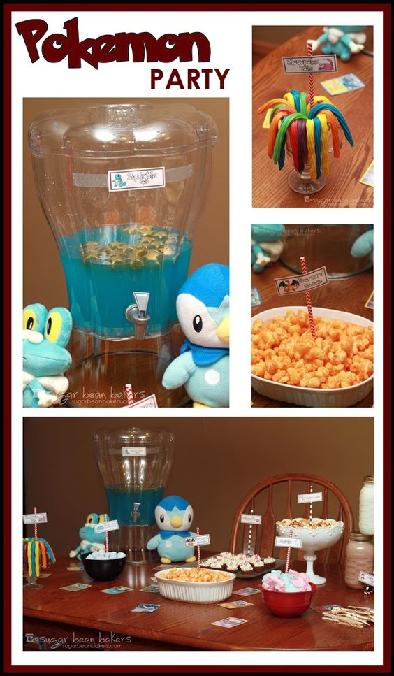 Pokemon drink dispenser and beans on pinterest for Party food and drink ideas