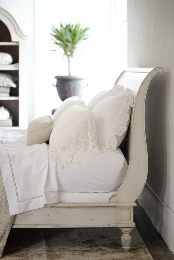 Vintage White Sleigh Bed