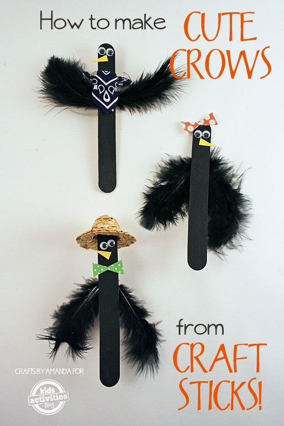 So cute for halloween! How to Make Craft Stick Crows: