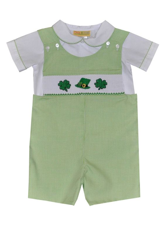 Hand Smocked St. Patrick's Day Shortall with Shirt