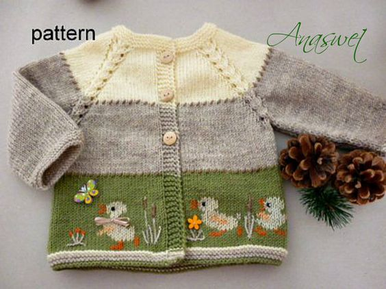 Baby knitting patterns.Pattern baby cardigan.Baby cardigan with ducklings.Baby clothes.: