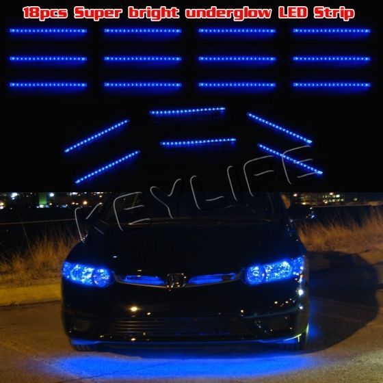 18pcs blue underglow under body under car shine 324 3528 led neon strips bar kit pinterest - Underglow neon ...