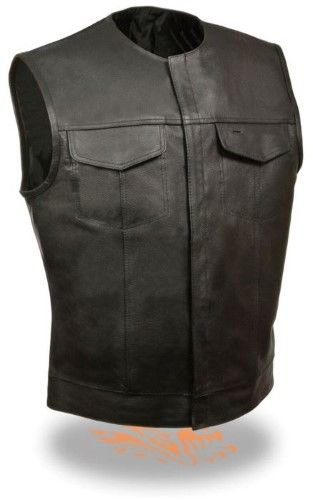 MENS MOTORCYCLE SON OF ANARCHY LEATHER VEST W//DUAL CONCEALED CARRY POCKETS 8XL