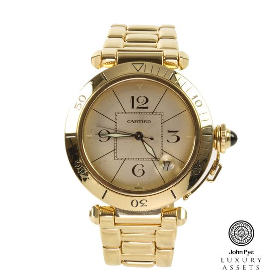 #Cartier Pasha #gents 18ct #gold automatic #watch witha a cream colour dial and 18ct gold #bracelet. #LuxuryWatch #Watches #OnlineAuction