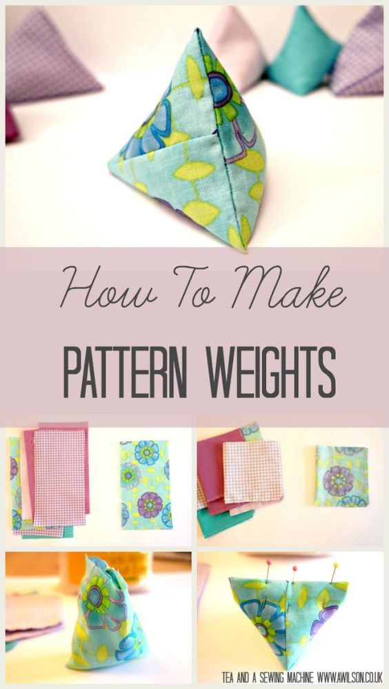A tutorial showing how to make triangular pattern weights. All you need are bits of fabric and some rice! A great way to use up fabric scraps. Quick and easy to make. Tea and a Sewing Machine www.awilson.co.uk