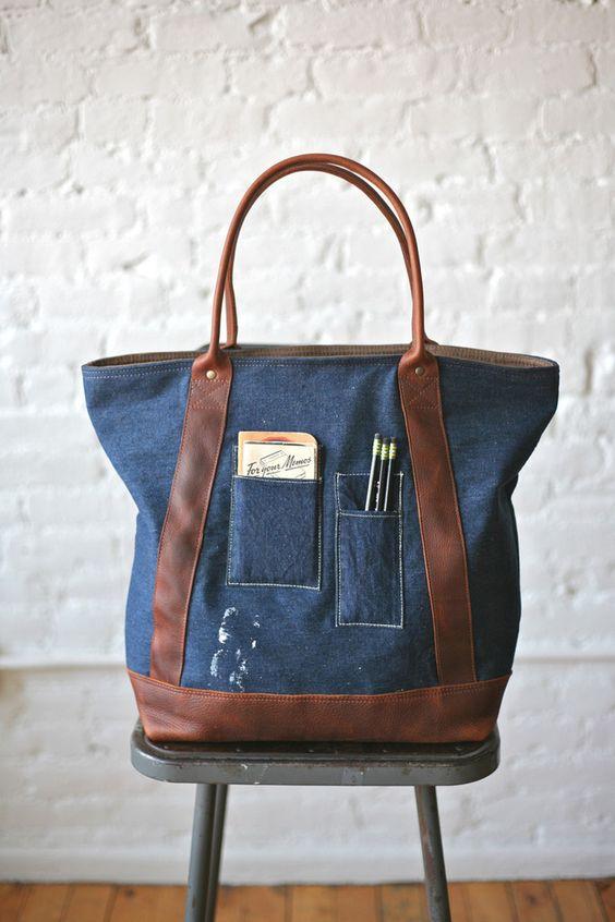 Ideas: 1940s era Denim & Leather Carryall