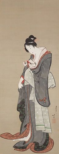 KATSUSHIKA HOKUSAI, woman with a cat, weston collection --- masterpieces of ukiyo-e paintings from the weston collection