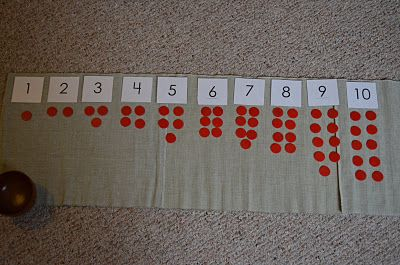 From {The Education Of Ours}: Montessori counting 1 to 10 with the cards and counters