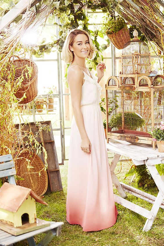 LC Lauren Conrad Ruffle Neckline Strappy Maxi Dress