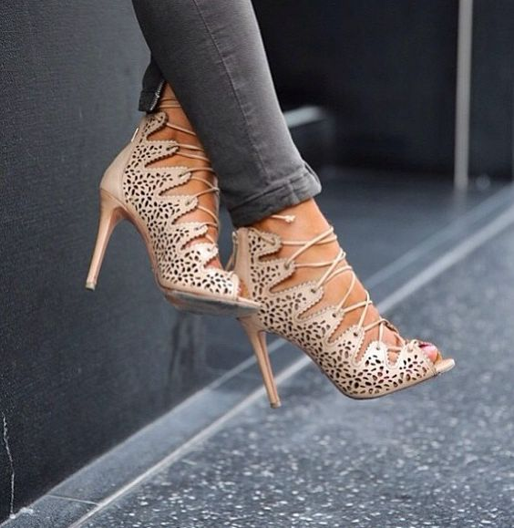 Alaia cutout lace up heels | Soulful Soles | Pinterest | Lace up