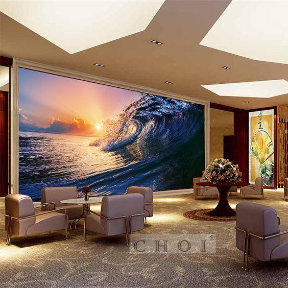 Ocean Wall Mural DIY Big In Sunset Decorative Mural by homedreamz