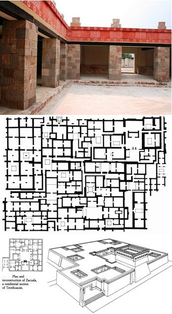 Complexes palatiaux de Quetzalpapalotl, Tlamimilolpa et Zacuala, à Teotihuacan (Vallée de Mexico).