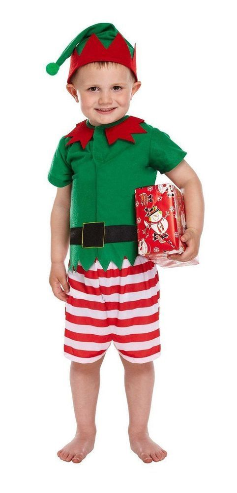 CHILDRENS KIDS BOYS ELF SANTAS LITTLE HELPER SANTA CHRISTMAS COSTUME FANCY DRESS