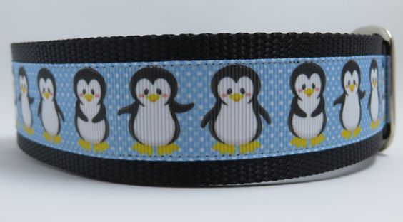 Penguin 1.5 adjustable dog collar ribbon on by WagSwagPetSupplies