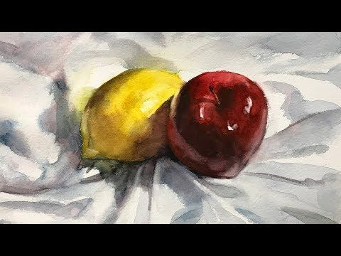 Still Life 107 Watercolor Painting Of Lemon And Apple Youtube