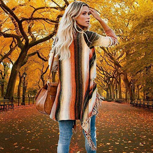 Women/'s Open Front Knitted Tassel Cardigan Stripes Slash Hem Loose Sweater Poncho