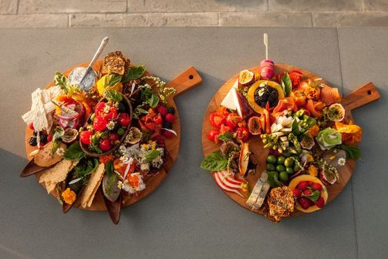 Colorful cheese plates for easy hor d'oeuvres