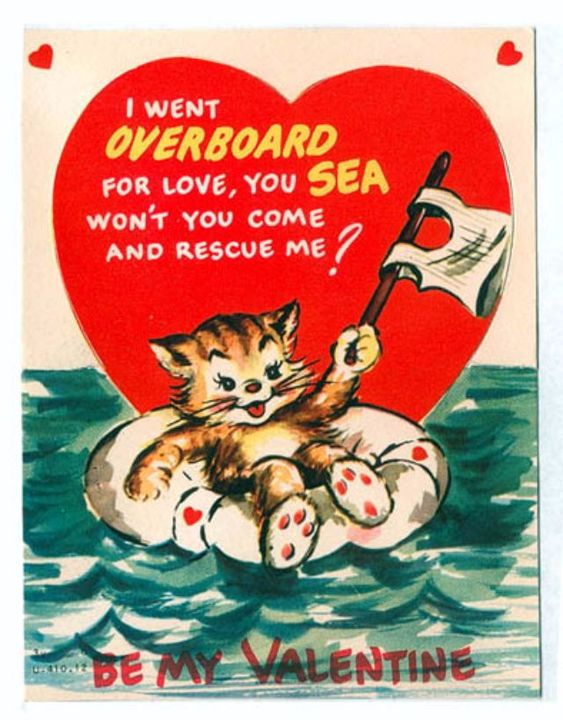 vintage everyday: Pussy Galore: A Collection of 28 Cute and Funny Vintage Kitty Cat Valentine's Day Cards