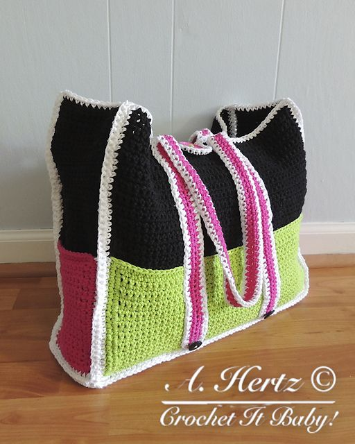 Crochet Bag With Pockets Pattern : Large Tote Bag with Pockets Pattern pattern by Crochet It ...
