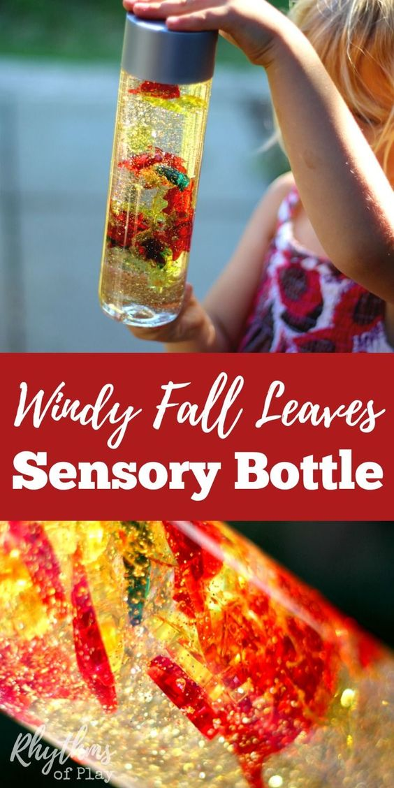 Calm down sensory bottles like this windy fall leaves sensory bottle are commonly used for safe no mess sensory play, a time out tool, and to help children (and adults) calm down and unwind. Discovery bottles are also the perfect way for babies and toddlers to safely investigate small items like these autumn leaves without the risk of choking on them. This one can also be used to help teach about the wind and changing seasons.