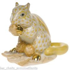 HEREND, CHIPMUNK with BERRIES PORCELAIN FIGURINE, BUTTERSCOTCH, FLAWLESS $350