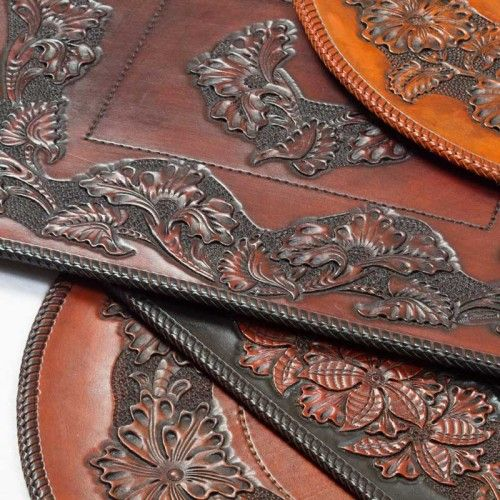 Sheridan style hand carved leather placemats by graycloud