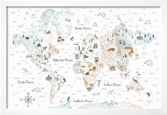 World Traveler I Prints Laura Marshall Allposters Com In 2021 Map Wall Mural Canvas Art Prints Laura Marshall