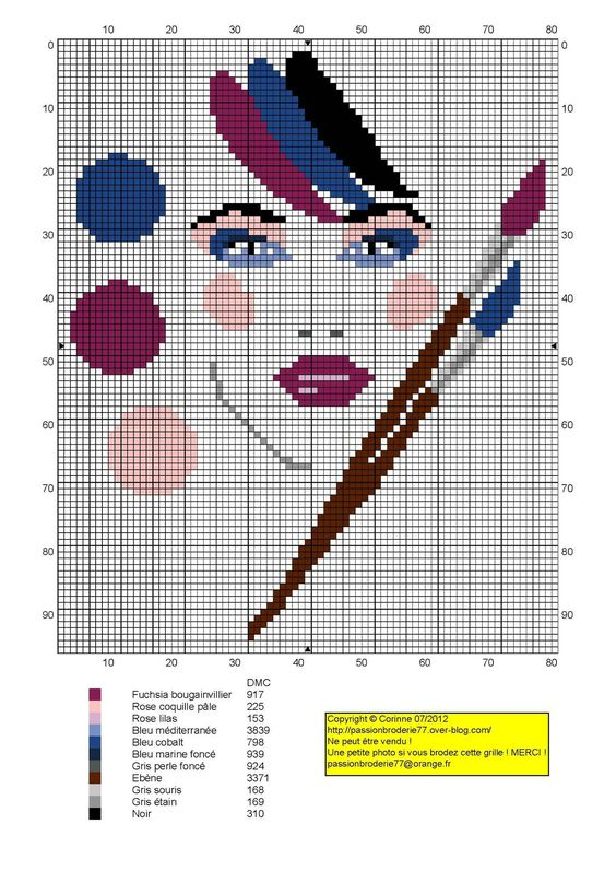 femme - woman - broderie - embroidery - Femme palette maquillage - Point de croix - Blog : http://broderiemimie44.canalblog.com/