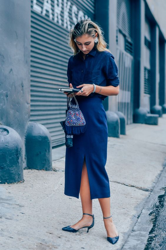 Navy, Women, Monochromatic, Earrings, Bags, New York, Jenny Walton, Kitten Heels, SS16 Women's