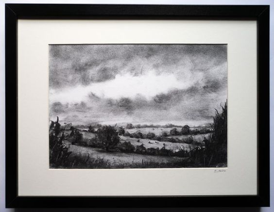 ARTFINDER: Among grass and rustling leaves by Rorie Nairn - A view of the landscape near Silsden, West Yorkshire.  Charcoal on archival paper.    Professionally framed, mounted behind glass in a deep edge frame with a...