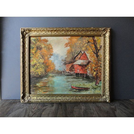 Vintage Old Mill Painting by JustSmashingDarling on Etsy, $249.00