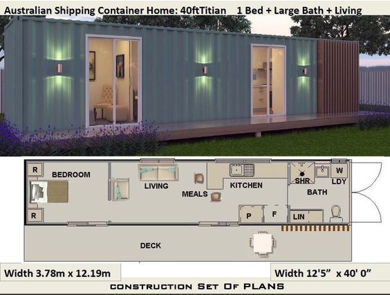 40 Foot Shipping Container Home | Full Construction House Plans | Blueprints USA feet & Inches - Australian Metric Sizes- Hurry- Last Sets by AustralianHousePlans on Etsy