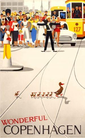 Wonderful Copenhagen, 1964 - original vintage poster by Viggo Vagnby listed on AntikBar.co.uk