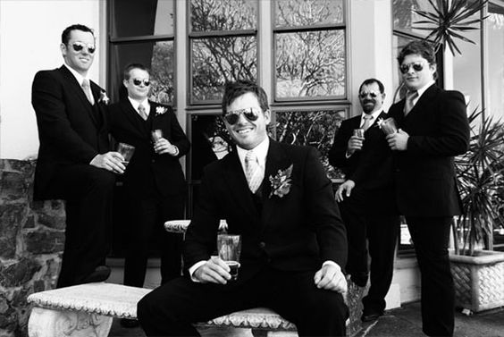 Real Life Bride Courtney's Groomsmen style:  The groomsmen wore black suits with purple ties  #bridal #wedding #love #rozlakelin #couture #designer #beautiful
