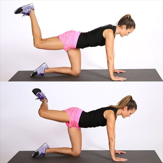 Isolate the glutes and form a couple of angles in this quick butt-sculpting series on all fours.  Begin on all fours and lift your right leg off the floor until your knee is in line with your hip. Flex your foot and squeeze your glute to raise your heel an inch toward the ceiling. Continue these small, concentrated pulses for 30 reps.   Open your right knee out to the side, keeping your foot flexed, and pulse your leg one inch to the left. You are not trying to lift the knee up, but try to ...: