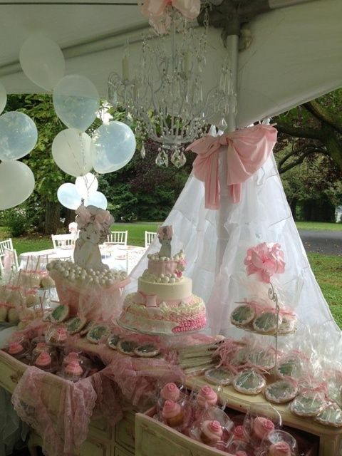 Pink and White shabby chic Baby Shower Party Ideas | Photo 19 of 35 | Catch My Party