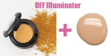 DIY Illuminator    Take a little bit of your liquid foundation and add a small amount of shimmering eyeshadow to it (a light gold works well). Loose powder will work too. Be careful not to over-do the shimmer because this will lead to your skin looking oily.