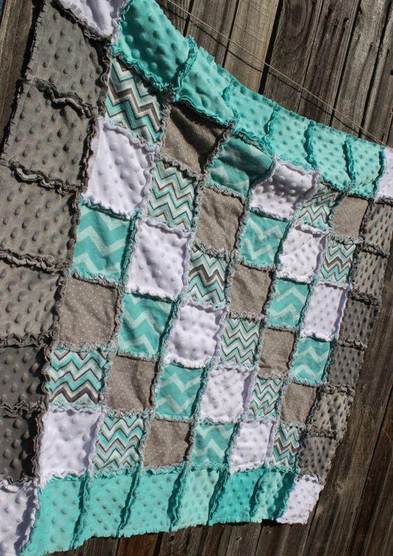 Aqua Green Amp Gray Rag Quilt Blanket Flannel Minky