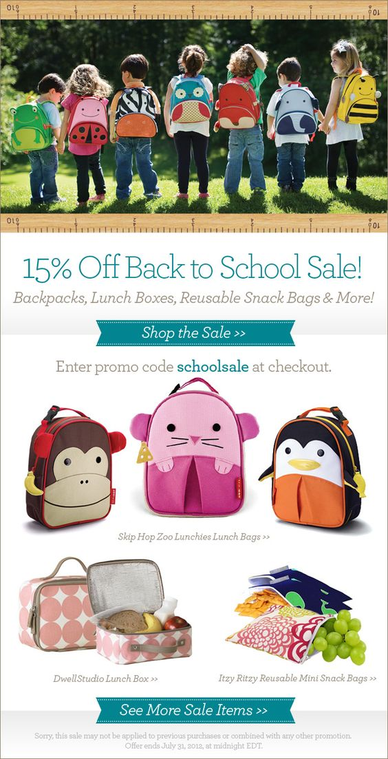 Back to school sale! Backpacks, lunch boxes, snack bags and more through July 31, 2012.: