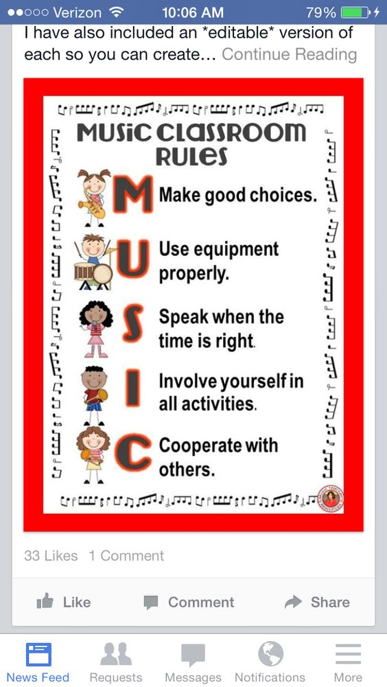 Music classroom guidelines. No link, but good idea.