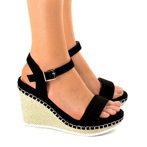 Czarne Sandaly Na Koturnie U 6291 Wedge Sandals Womens Sandals Womens Wedges