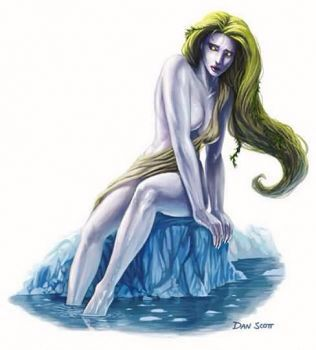 Rusalka- Slavic myth: female water creatures that were able to walk out onto land at night to dance and sing in meadows. Their singing would entice men to follow them to their death at the lake floor. They had green hair, translucent skin, and pupil-less eyes. They wielded magic combs that could conjure water when ever needed. If their hair dried out on land, they would die.