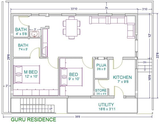 30x40 2 bedroom house plans plans for east facing plot for 30x40 house plans