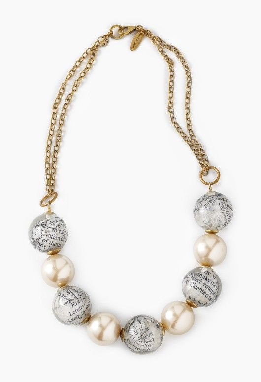 Newspaper Print Pearl Necklace!
