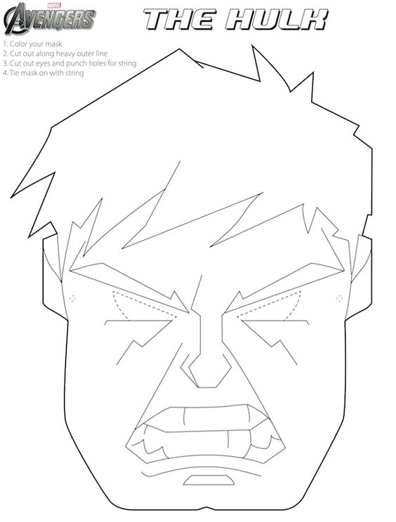 Free avengers halloween masks to color fun for an for Avengers mask template
